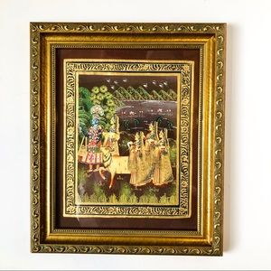 Original Radha Krishna Tanjore Silk Cloth Painting